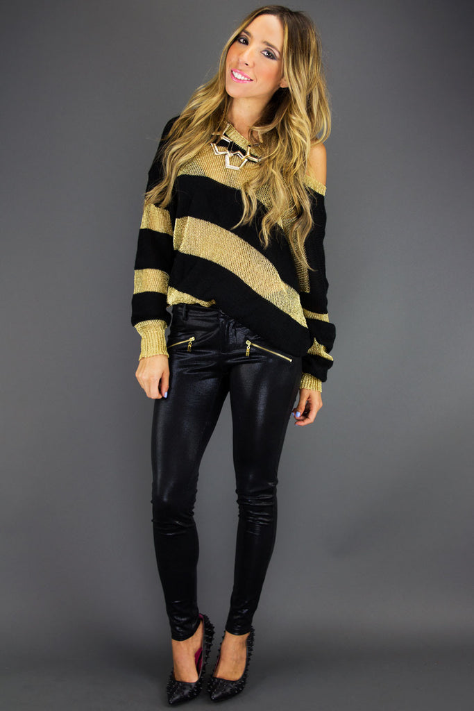 STRIPE METALLIC SWEATER