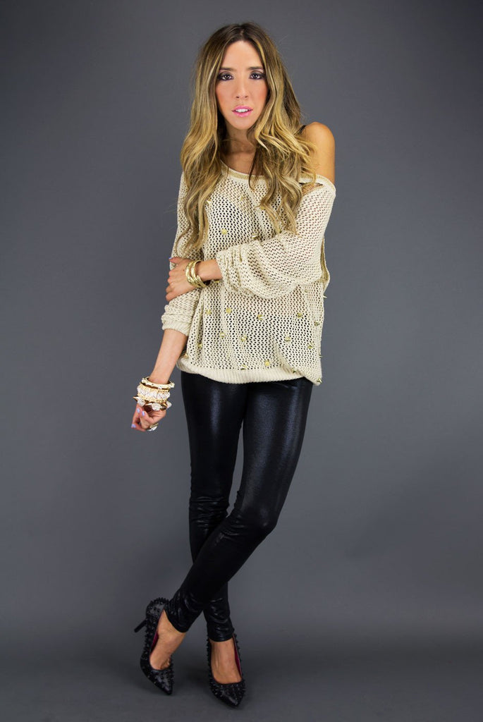 ALL OVER STUDDED SWEATER - Beige