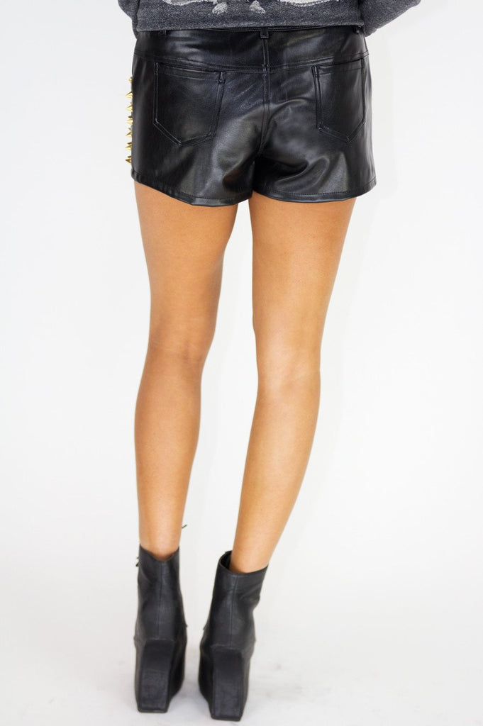 GOLD SPIKES LEATHER SHORTS (Final Sale) - Haute & Rebellious