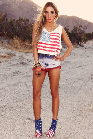 VINTAGE TIE DYE SHORTS - Patriotic Mix - Haute & Rebellious