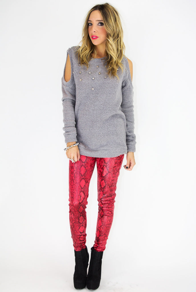 SHOULDER CUTOUT SWEATER WITH CRYSTALS