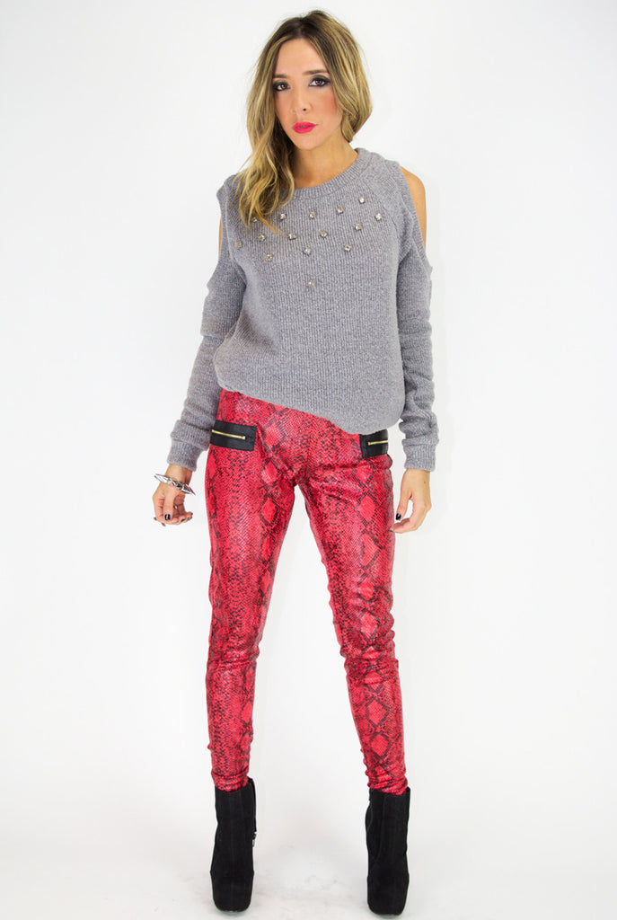 RED SNAKE PRINT LEGGINGS
