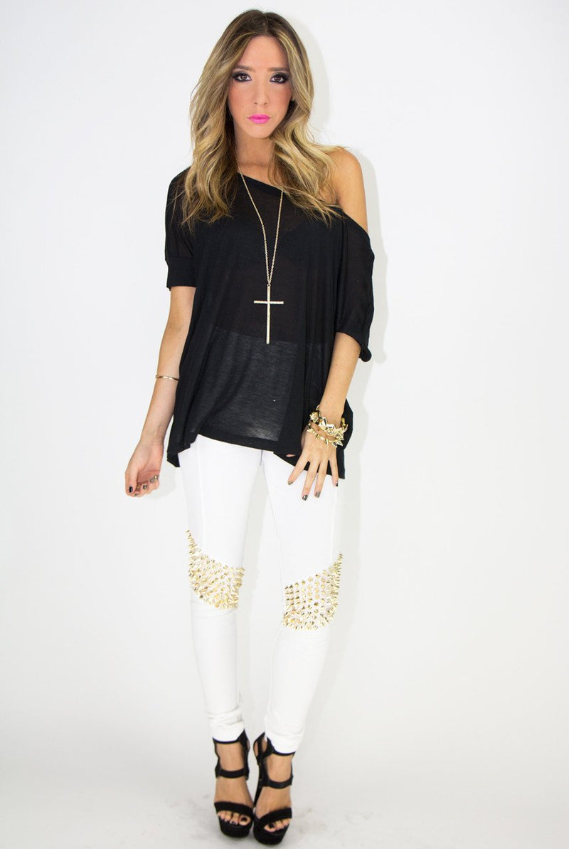 GOLD SPIKE LEGGINGS - White - Haute & Rebellious