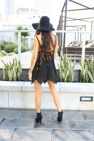 CROCHET LAYER DRESS - Black - Haute & Rebellious