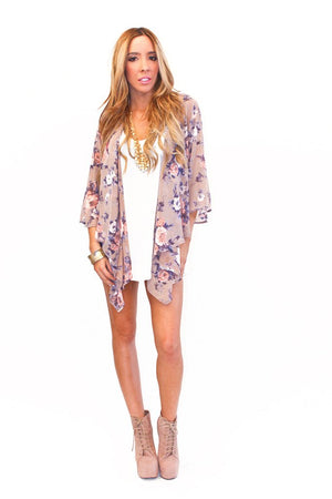 FLOWER CHIFFON CARDIGAN - Blue - Haute & Rebellious
