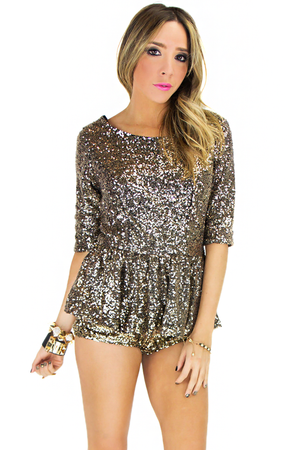 GOLD SEQUIN PEPLUM BLOUSE - Haute & Rebellious