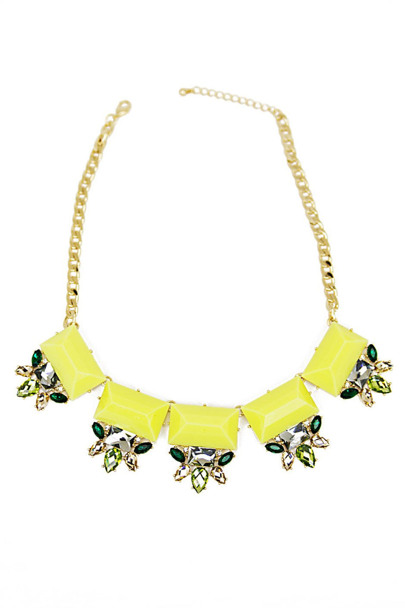 NEON CRYSTAL & STONE NECKLACE - Yellow/Green - Haute & Rebellious
