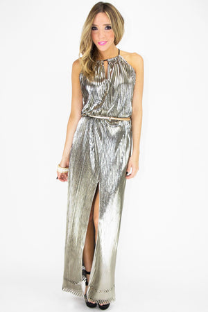 METALLIC GODDESS DRESS - Silver - Haute & Rebellious