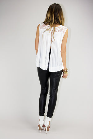 SLIT BACK LACE TOP - White - Haute & Rebellious