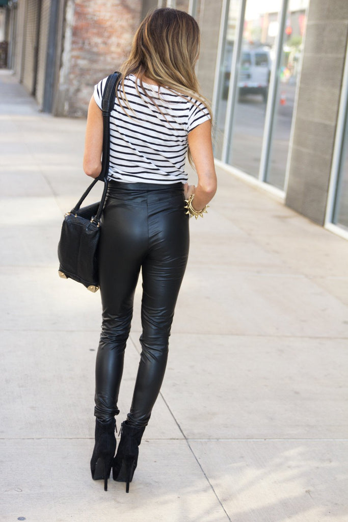 HIGHWAISTED LEATHER PANTS WITH ZIPPER - Black - Haute & Rebellious