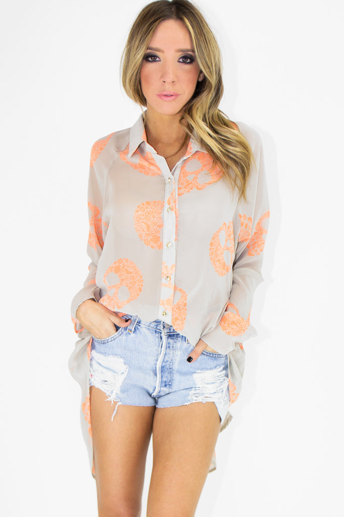 SKULL PRINT HIGH-LOW CHIFFON BLOUSE