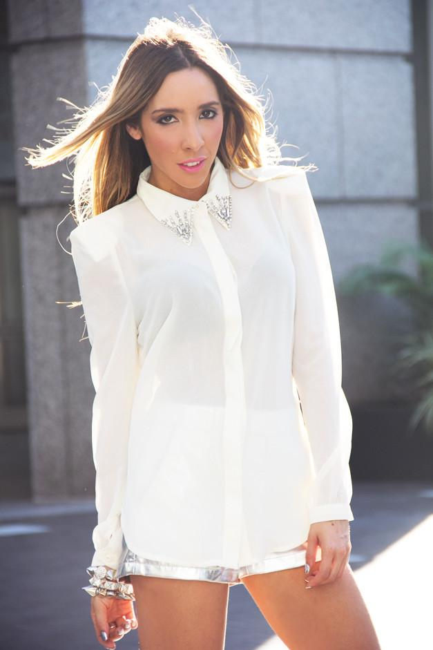 EMBELLISHED CHIFFON BLOUSE WITH SHOULDER PADS - White