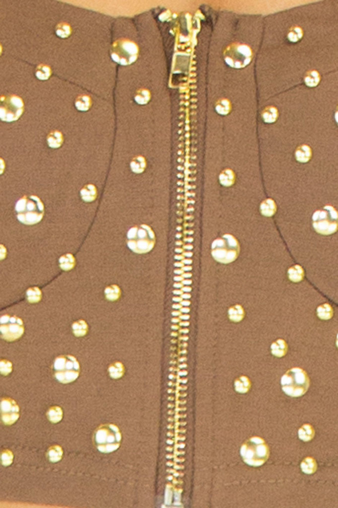 GOLD STUDDED BUSTIER  - Brown (Final Sale)
