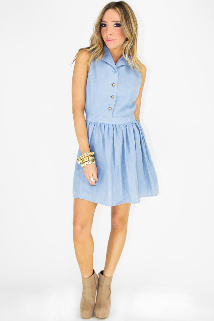 PAIGAN CHAMBRAY BUTTON-UP DRESS (Final Sale) - Haute & Rebellious