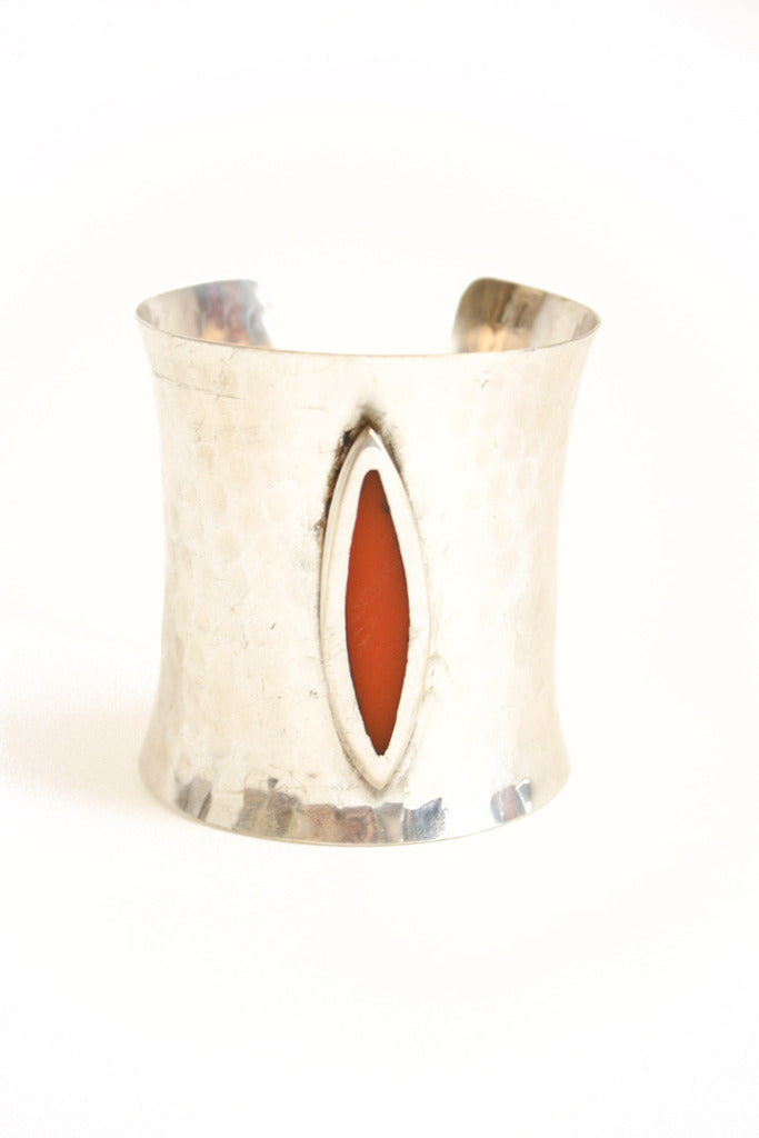 SILVER CUFF WITH DEEP RED STONE ACCENT