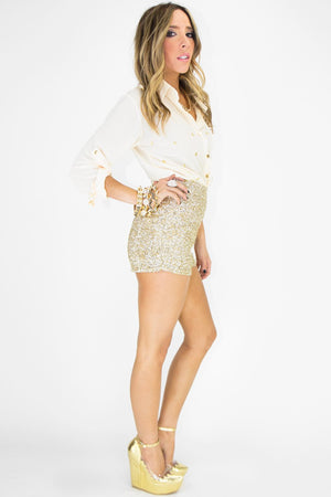 HIGH-WAISTED GOLD SEQUIN SHORTS - Haute & Rebellious
