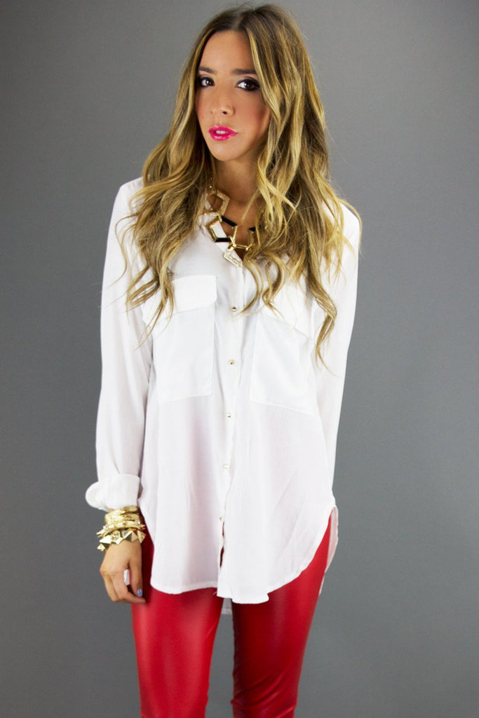 BASIC TWO POCKET BLOUSE WITH PYRAMID BUTTONS - White (Final Sale) - Haute & Rebellious