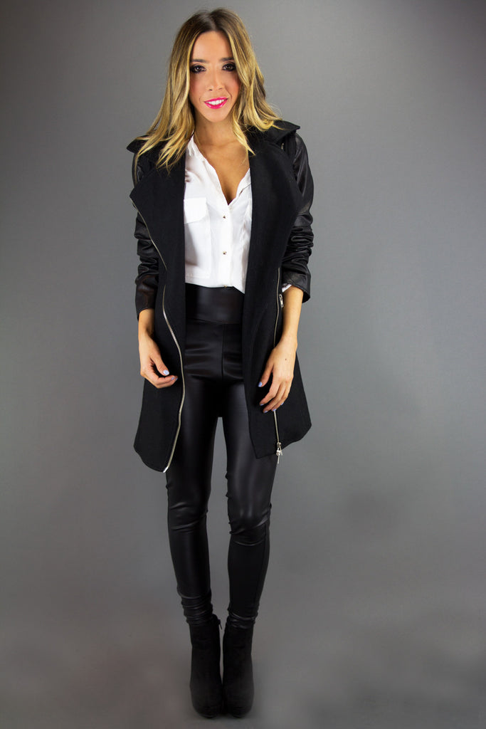 SILVER ZIP BIKER COAT - Black