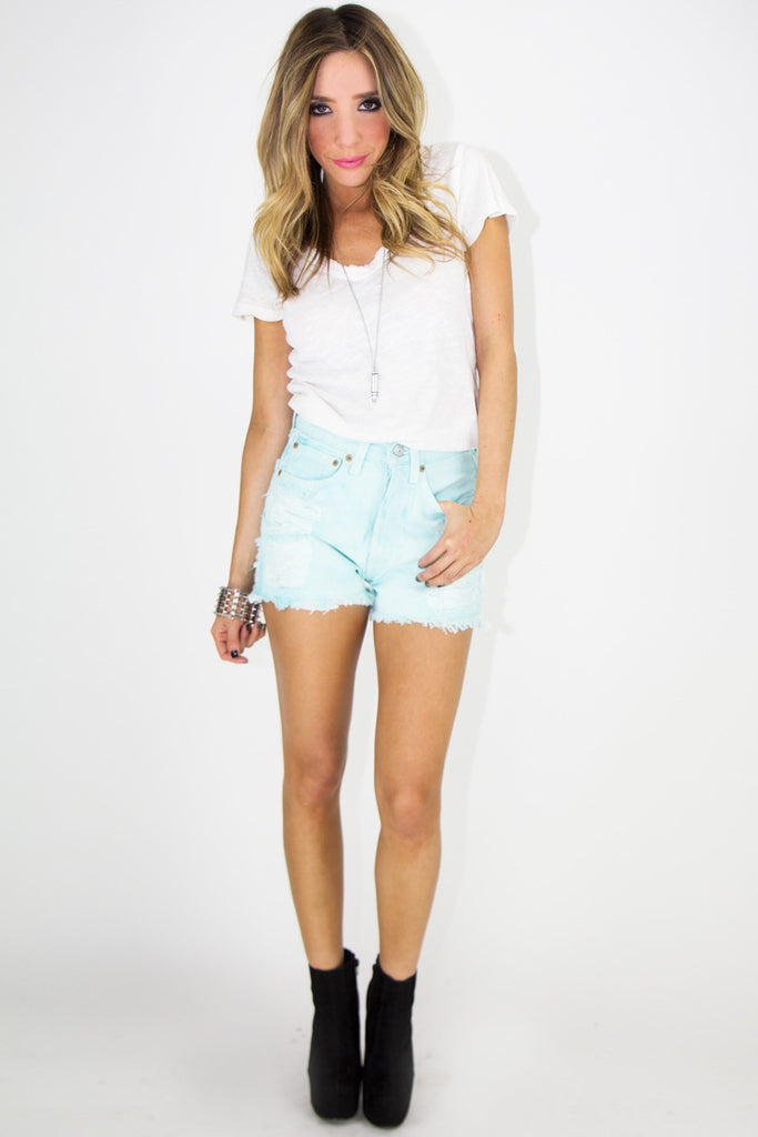 VINTAGE LEVIS RIPPED DENIM SHORTS - Mint (Final Sale)