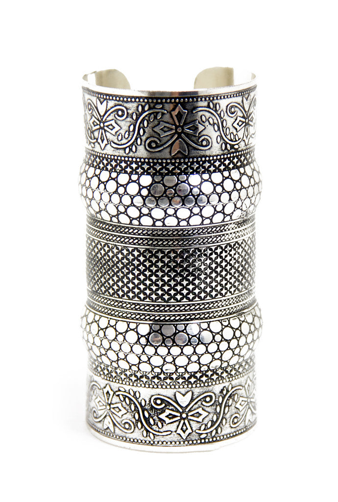 OVERSIZED NATIVE CUFF - Silver