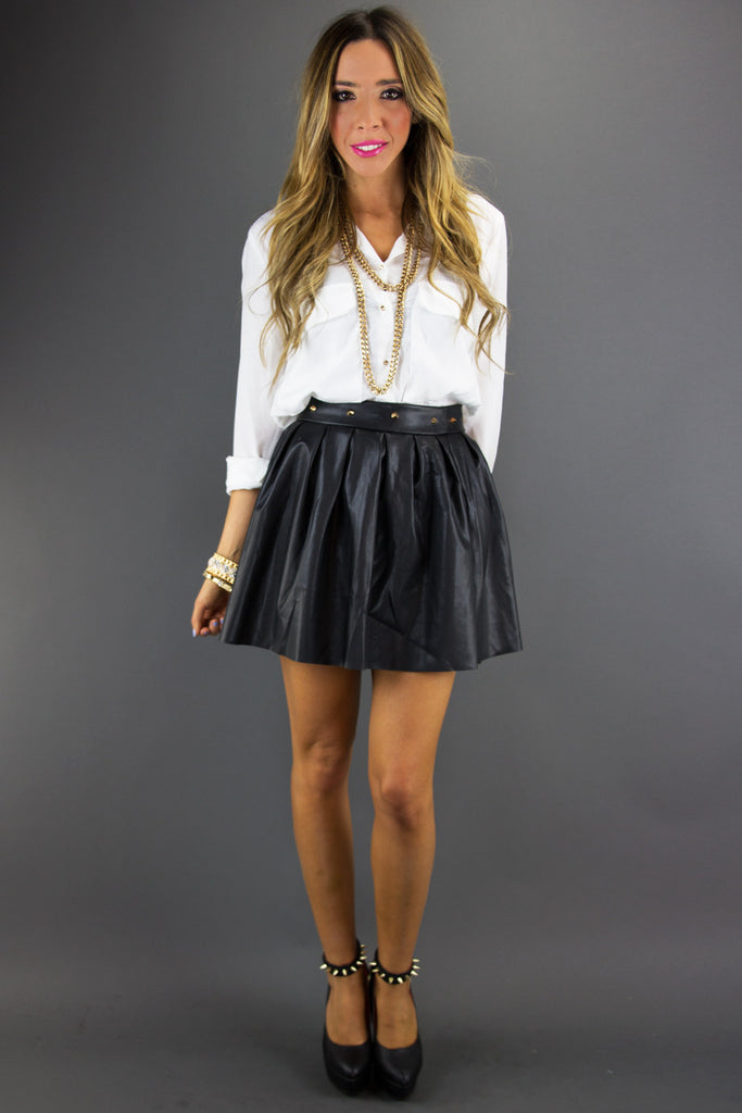 SPIKED FULL LEATHER SKIRT - Black
