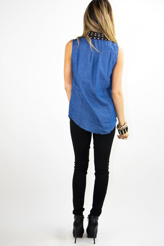 DENIM BLOUSE WITH LEATHER STUDDED NECK (Final Sale)