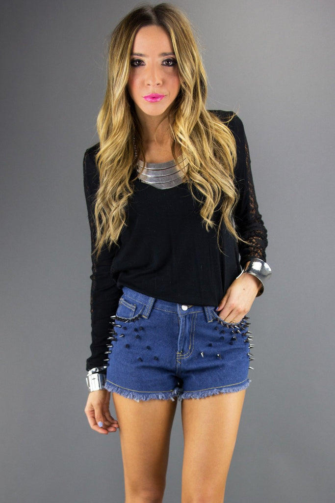 LONG SLEEVE SHIRT WITH BACK LACE - Black - Haute & Rebellious