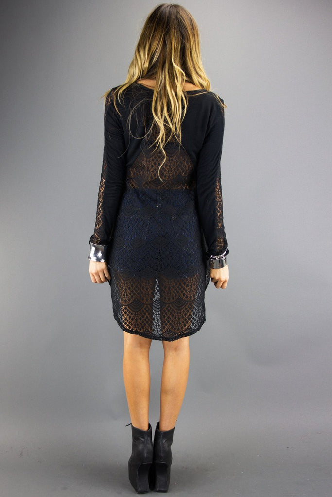 LONG SLEEVE SHIRT WITH BACK LACE - Black
