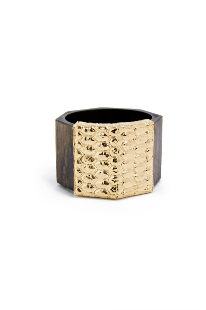 WOOD & GOLD BANGLE