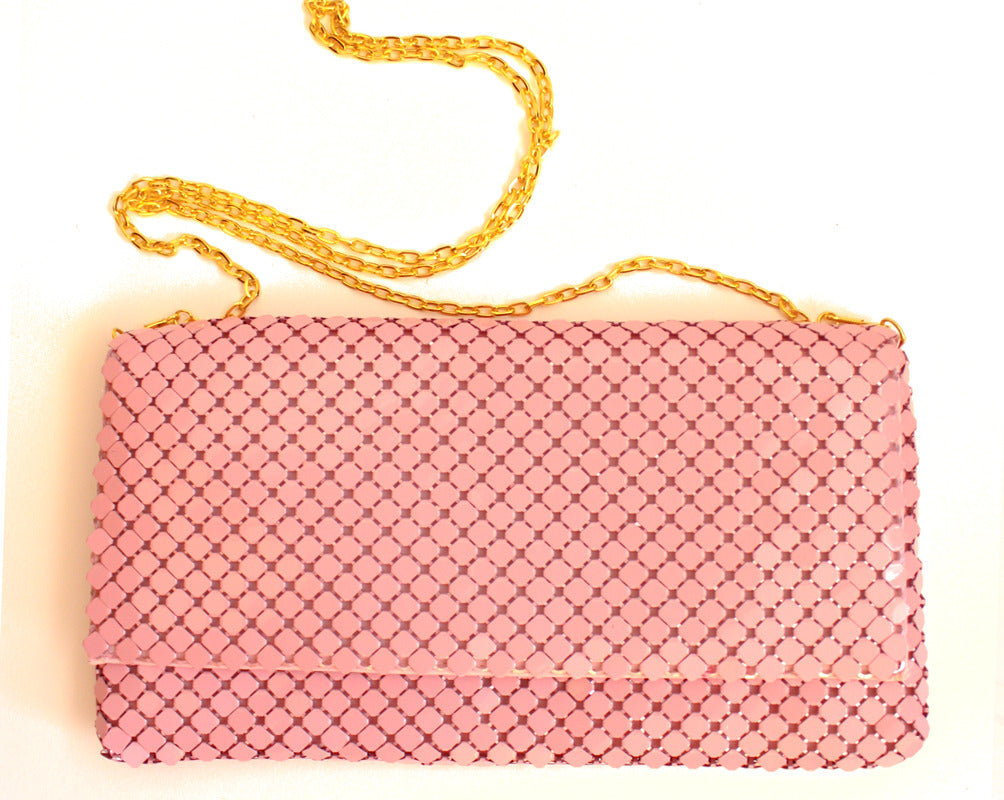 PINK SEQUIN METAL CLUTCH