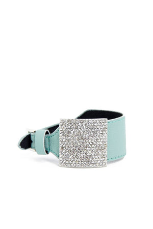 MINT CRYSTAL LEATHER BARACELET - Haute & Rebellious