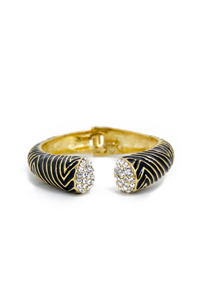 OPEN BRACELET - Black/Gold