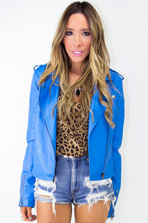 MOTORCYCLE JACKET - Electric Blue - Haute & Rebellious