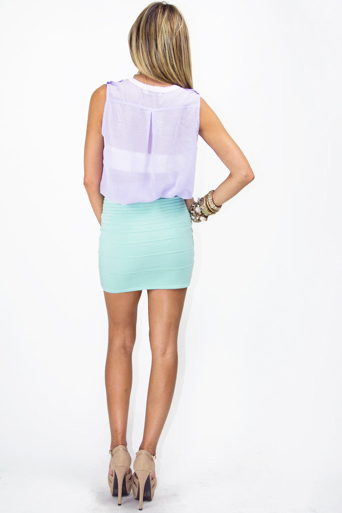 SLEEVELESS CHIFFON BLOUSE - Light Purple