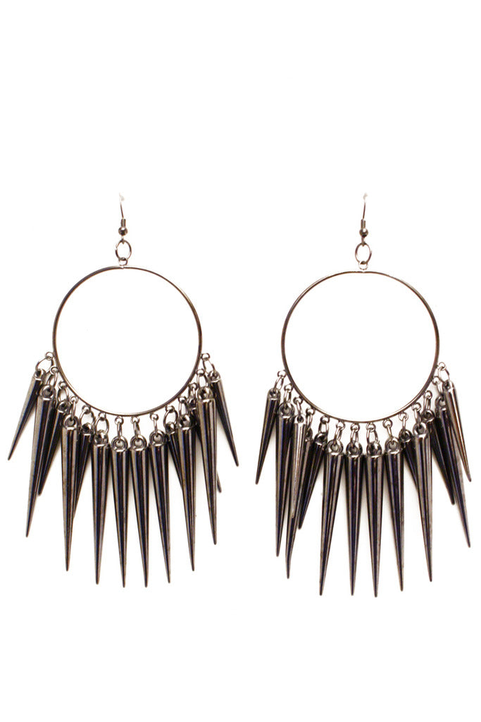 STUDDED CIRCLE EARRINGS - Dark Silver