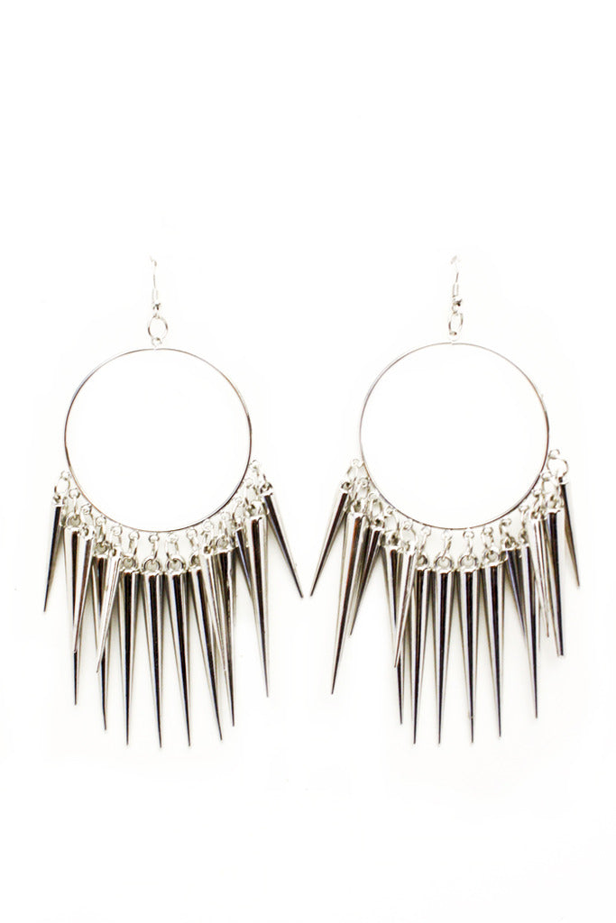 STUDDED CIRCLE EARRINGS - Silver