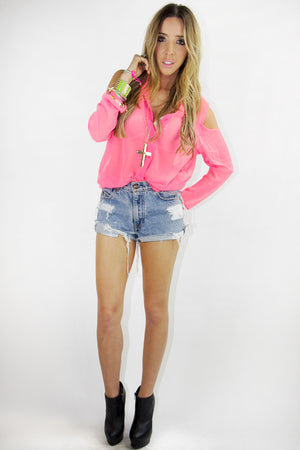 SHOULDER CUTOUT CHIFFON TOP - Neon Pink - Haute & Rebellious
