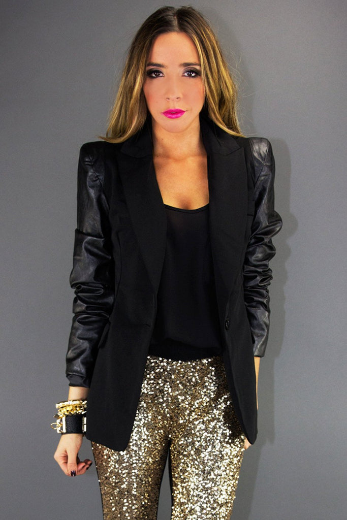 LEATHER CONTRAST SLEEVE BLAZER WITH SHOULDER PADS - Black