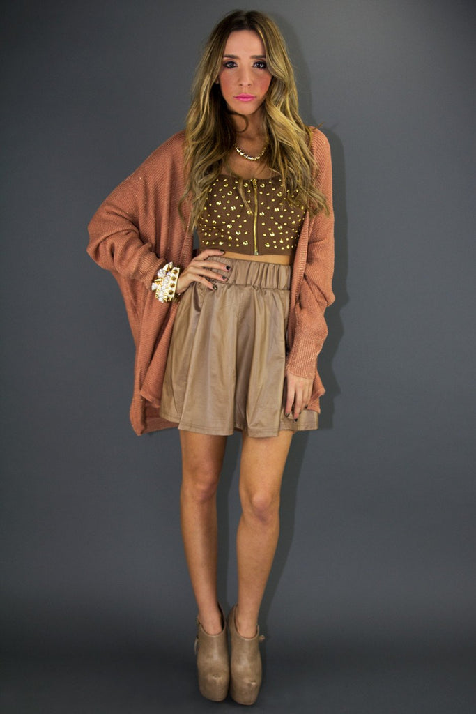 LEATHER FULL A LINE SKIRT - Tan (Final Sale)