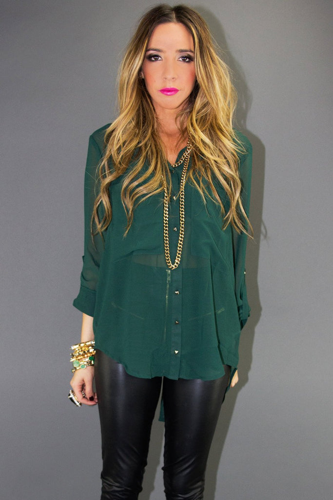 CHIFFON SHIRT WITH PYRAMID BUTTONS - Deep Green