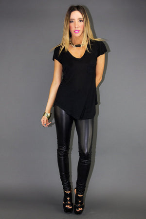 BASIC V NECK T-SHIRT - Black - Haute & Rebellious