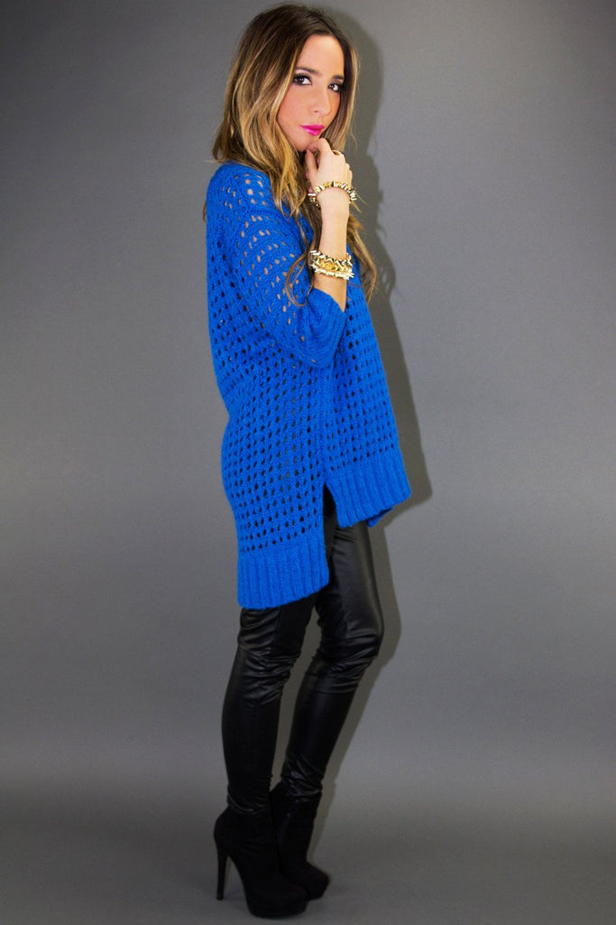 BEHNA OVERSIZED SWEATER - Electric Blue