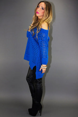 BEHNA OVERSIZED SWEATER - Electric Blue - Haute & Rebellious
