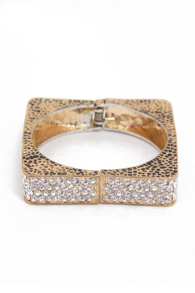 CRYSTALLIZED SQUARE METAL BRACELET - Haute & Rebellious
