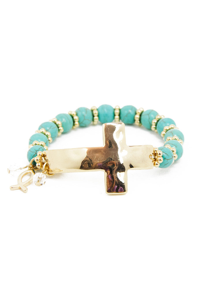 PETITE CIRCLE BRACELET WITH CROSS - Turquoise