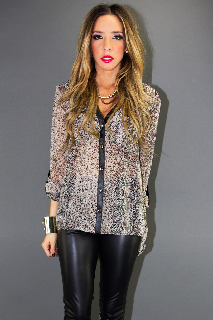 PHYTON CHIFFON PRINT BLOUSE WITH LEATHER CONTRAST