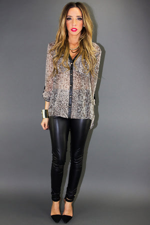 PHYTON CHIFFON PRINT BLOUSE WITH LEATHER CONTRAST - Haute & Rebellious