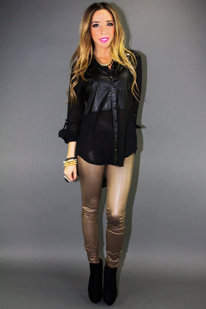 LEATHER CONSTRAST CHIFFON BLOUSE - Haute & Rebellious
