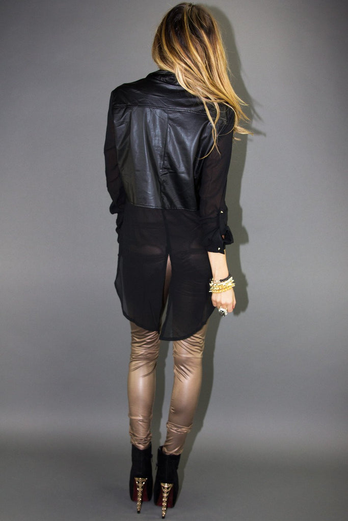 LEATHER CONSTRAST CHIFFON BLOUSE