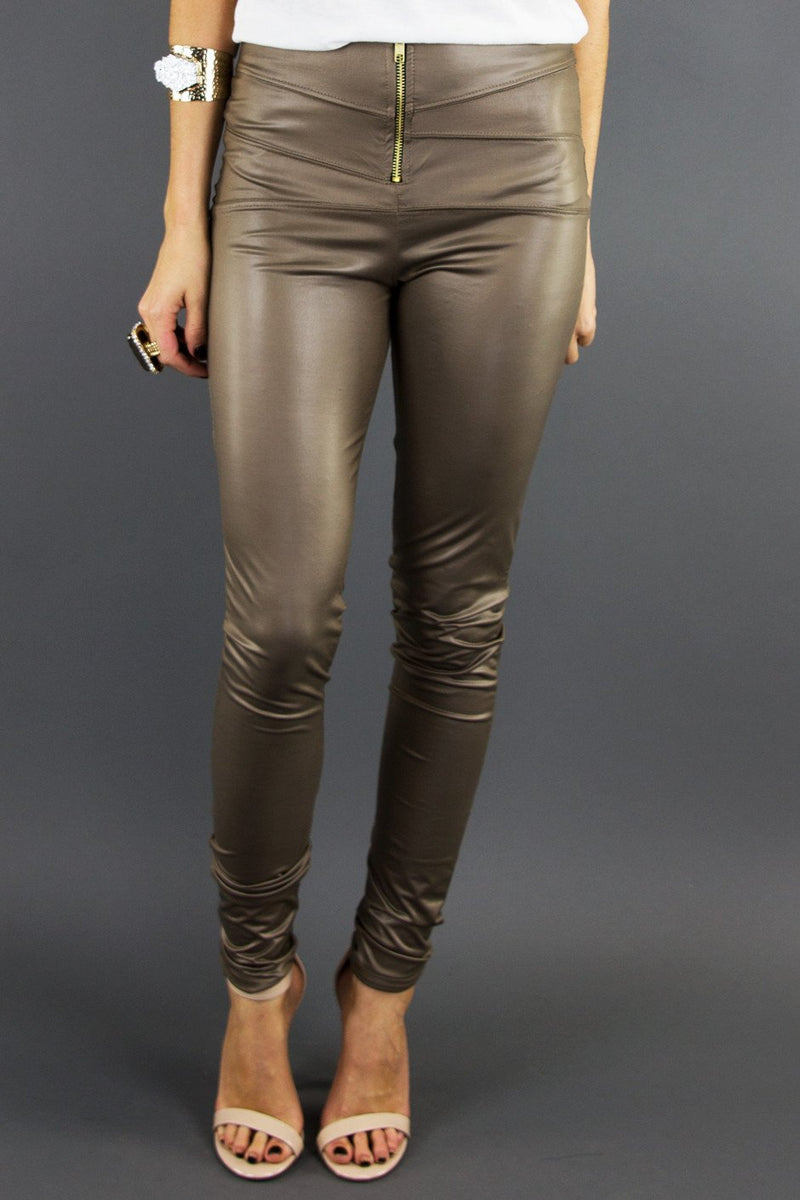 LEATHER  SKINNIES - Taupe - Haute & Rebellious